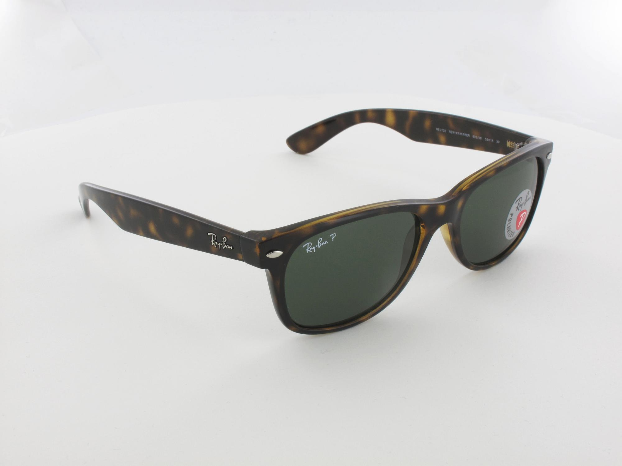 Ray Ban | New Wayfarer RB2132 902/58 55 | tortoise / crystal green polarized